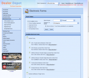 Dealer Depot Electronic Forms