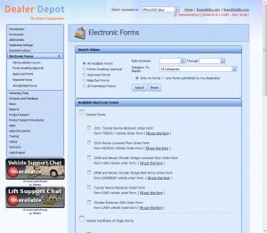 Dealer Depot Electronic Forms