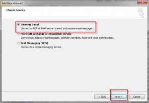 Outlook 2010 Choose Service
