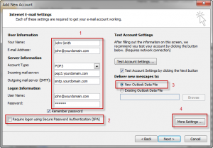 Outlook 2010 Mail Settings