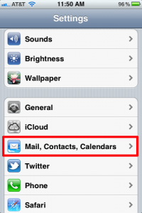 iPhone Mail, Contact, Calendars