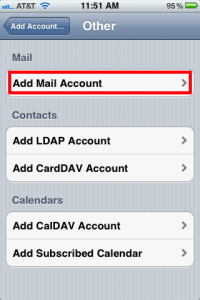 iPhone Add Mail Account