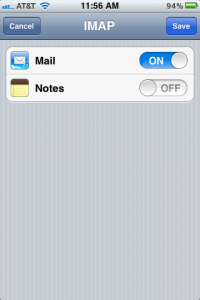 iPhone Mail Notes
